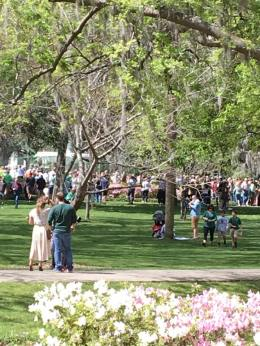 Forsyth Park - Ppl waiting for fountain to turn green for St. Patty's Day